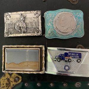 Lot of 4 Vintage Belt Buckles